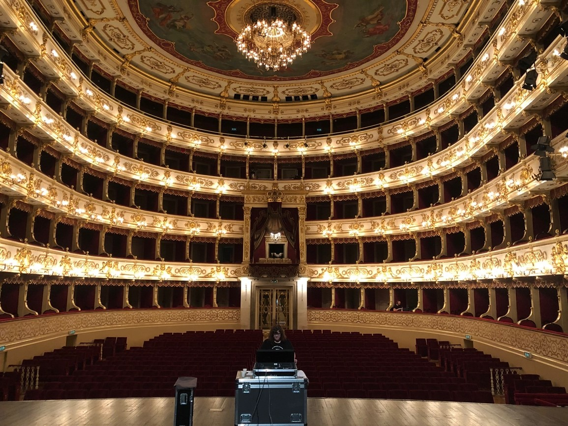 Programming lights at this grand theater with a raked stage in Parma, Italy was a highlight of a recent tour with Complexions Contemporary Ballet!